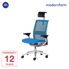 Modernform เก้าอี้ Steelcase ergonomic รุ่น Think v2 Platinum พนักพิงสูง สีฟ้า ปรันเอนได้  4 ระดับ เก้าอี้เพื่อสุขภาพ