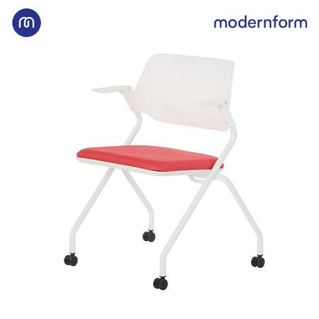 Modernform เก้าอี้เอนกประสงค์ รุ่น SAYA พนักพิงกลาง สีแดง เคลื่อนย้ายสะดวกด้วยล้อไนลอน พับเก็บได้