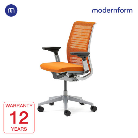 Modernform เก้าอี้ Steelcase ergonomic รุ่น Think v2 Platinum พนักพิงกลาง สีส้ม ปรันเอนได้ 4 ระดับ เก้าอี้เพื่อสุขภาพ
