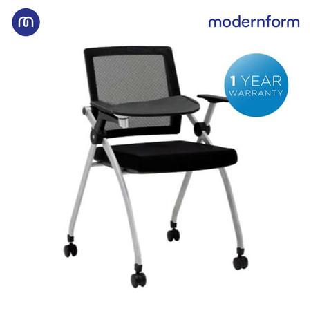 Modernform เก้าอี้เอนกประสงค์ รุ่น Class พับเก็บได้ แผ่นรองเขียน มีล้อ พนักผิงหุ้มผ้าตาข่าย สีดำ