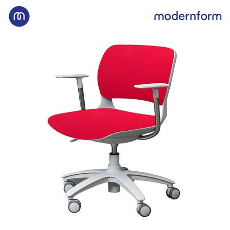 Modernform เก้าอี้เอนกประสงค์ รุ่น B-One (S01) พนักกลาง พลาสติก เฟรมขาว ขาไนลอน เบาะผ้าสีแดง