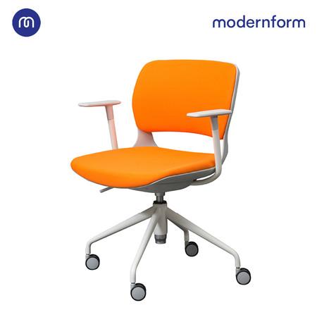 Modernform เก้าอี้เอนกประสงค์ รุ่น B-One (S3) พาสติก เฟรมขาว ขาเหล็กพาวเดอร์โค้ท เบาะผ้าสีส้ม