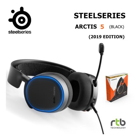 SteelSeries หูฟังเกมมิ่ง 7.1 DTS รุ่น Arctis 5 RGB (2019 Edition) Gaming Headset - Black