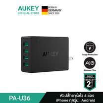 AUKEY หัวชาร์จเร็ว AiPower FastCharge หัวปลั๊กไฟ ขนาด 4 ช่อง จ่ายไฟสูงสุด 40W รุ่น PA-U36 สีดำ