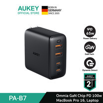 AUKEY หัวชาร์จเร็ว Omnia 100W 4-Port USB-C Charger, PD Charger with GaNFast Technology , USB-C Laptop Charger รุ่น PA-B7