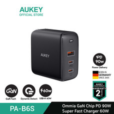 AUKEY หัวชาร์จเร็ว Omnia 90W 3-Port For MacBook Pro Charger with GaNFast Technology  Wall Charger รุ่น PA-B6S