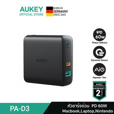 AUKEY หัวปลั๊กชาร์จเร็ว Dynamic USB-C Power Delivery 60W และ AiPower Fast Charge ช่อง รุ่น PA-D3