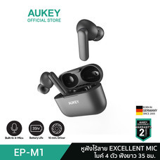AUKEY หูฟังไร้สาย True Wireless Earbuds, 10mm driver PEEK+PU, BT 5 Deep Bass EXCELLENT MIC รุ่น EP-M1