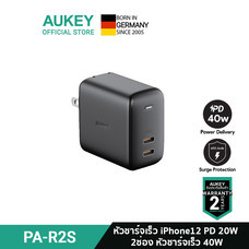 AUKEY หัวชาร์จเร็ว iPhone 12 SWIFT 40W Power Delivery Fast Charger Adapter จ่ายไฟ 20W + 20W PD รุ่น PA-R2S