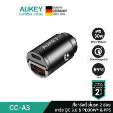 AUKEY ที่ชาร์จเร็วในรถ USB-C Power Delivery 30W Metal Dual Port Fast Car Charger with PPS รุ่น CC-A3