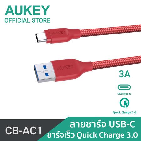 สายชาร์จ Aukey USB 3.1 USB A To USB C Cable CB-AC1-Red