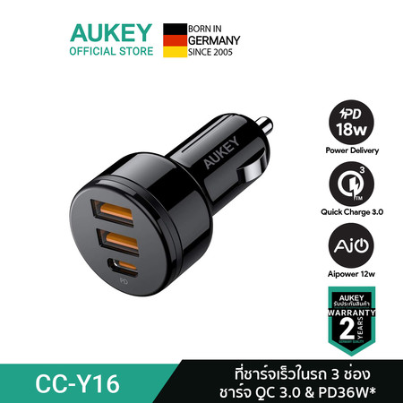 AUKEY PowerAuto 36W Power Delivery & Quick Charge 3.0 Car Charger รุ่น CC-Y16