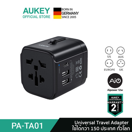 Aukey Universal Travel Adapter With USB-C and USB-A Ports PA-TA01