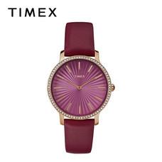 Timex นาฬิกาข้อมือผู้หญิง TM-TW2R51100 สายหนัง สีแดงเลือดหมู
