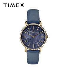 Timex นาฬิกาข้อมือผู้หญิง TM-TW2R51000 สายหนัง สีน้ำเงิน