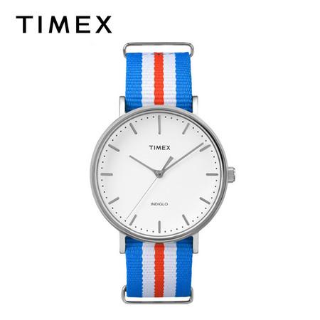 Timex นาฬิกาข้อมือผู้ชายและผู้หญิง รุ่น TM-TW2P91100 สายไนลอน สีฟ้า/แดง