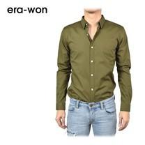 era-won เสื้อเชิ้ต รุ่น SUPER SHIRT ทรง Slim - สีเขียว (Military)