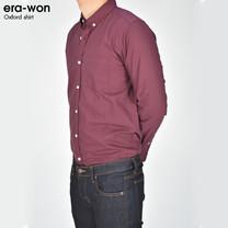 era-won เสื้อเชิ้ต รุ่น OXFORD SHIRT ANTI-BACTERIA ทรง Slim - สีเลือดหมู Black Cherry คอปก