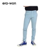 era-won กางเกงสแล็คขายาว รุ่น CITY LIGHT WRIGHT ทรง Super Skinny- สีฟ้าเข้ม City Sky