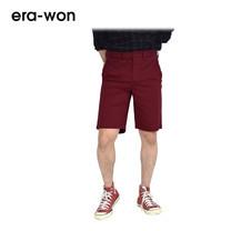 era-won กางเกงชีโน่ขาสั้น รุ่น SHORT CHINOS ทรง Slim - สีแดงเลือดหมู Marryland