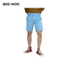 era-won กางเกงชีโน่ขาสั้น รุ่น SHORT CHINOS ทรง Slim - สีฟ้าอ่อน Ice Age
