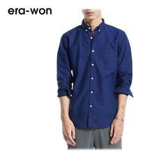era-won เสื้อเชิ้ต รุ่น OXFORD SHIRT ANTI-BACTERIA ทรง Slim คอปก - สีน้ำเงิน (Pirate Blue)