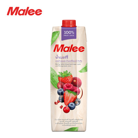 MALEE น้ำเบอร์รี่ผสมน้ำแอปเปิ้ลและน้ำทับทิม 100% ขนาด 1000 มล. [1 ลัง บรรจุ 12 กล่อง]
