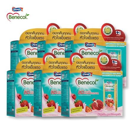 Benecol รสทับทิมและสตรอว์เบอร์รี่ (แพ็ก 6 กล่อง x 18 แพ็ก) 108 กล่อง