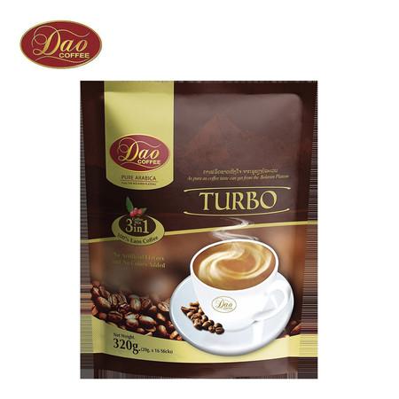 กาแฟ ดาวคอฟฟี่ DAO COFFE เทอร์โบ คอฟฟี่ มิกซ์ 3IN1 ขนาด 20 กรัม แพค 16 ซอง
