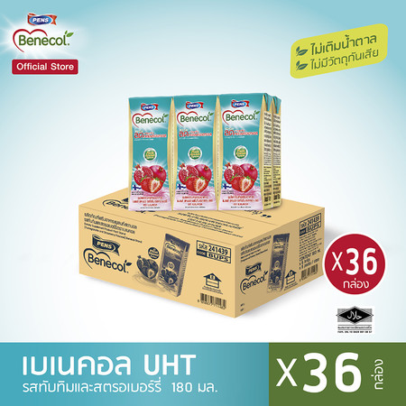 Benecol รสทับทิมและสตรอว์เบอร์รี่ (แพ็ก 6 กล่อง x 6 แพ็ก) 36 กล่อง