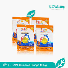 Baini Gummies วุ้นเจลาตินสำเร็จรูปผสมวิตามินซีกลิ่นส้มและมิกซ์เบอร์รี่ 40.5 กรัม (4 ซอง)