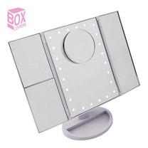 Boxlovershop กระจกตั้งโต๊ะไฟ LED รุ่น Mirror-003-White