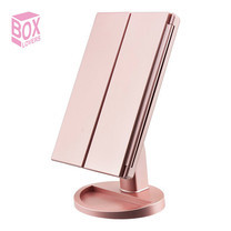 Boxlovershop กระจกตั้งโต๊ะไฟ LED รุ่น Mirror-003-Rose Gold