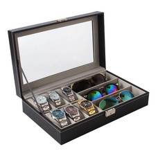 Boxlovershop กล่องเก็บนาฬิกาและแว่นตา รุ่น WB-011 - สีดำ