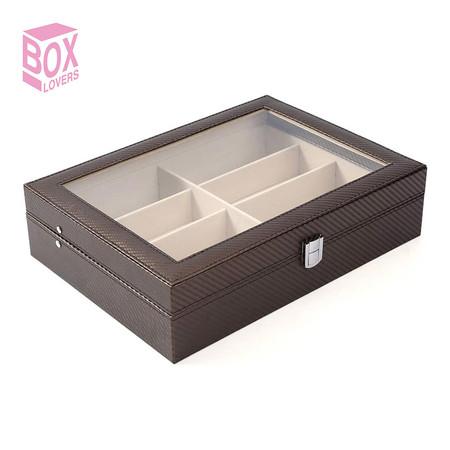 Boxlovershop กล่องเก็บแว่นตา 8 ช่อง รุ่น WS-002 - สีน้ำตาล