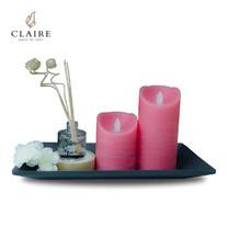 CLAIRE เทียน LED ชุด 2 ชิ้น พร้อมรีโมทและน้ำหอม - สีชมพู