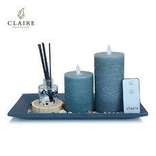 CLAIRE เทียน LED ชุด 2 ชิ้น พร้อมรีโมทและน้ำหอม - สีเทา