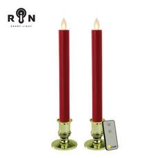 RIN เชิงเทียน LED 25 ซม. พร้อมรีโมท รุ่น วิ้งกด - สีแดงฐานทอง