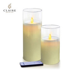 CLAIRE เทียน LED ชุด 2 ชิ้น พร้อมรีโมท รุ่น Wax - สีเหลืองครอบแก้วใส