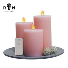 RIN เทียน LED ชุด 3 ชิ้น พร้อมรีโมท - สีชมพู