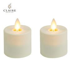 CLAIRE เทียน LED แบบชาร์จ ชุด 2 ชิ้น - สีขาว