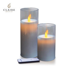 CLAIRE เทียน LED ชุด 2 ชิ้น พร้อมรีโมท รุ่น Wax - สีเหลืองครอบแก้วเทา