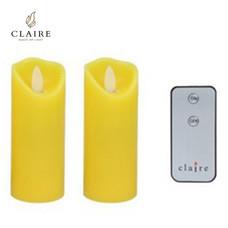 CLAIRE เทียนมินิ LED พร้อมรีโมท เซตคู่ 4 นิ้ว - สีเหลือง