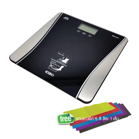 EXEO เครื่องชั่งน้ำหนักอัจฉริยะ Body Fat iF1941B Bluetooth เชื่อมต่อ Application ใน Smartphone รับน้ำหนักสูงสุด 180 kg. บันทึกได้ 12 คน รับประกัน 2 ปี แถมแถบยางยืด 5 ขนาด 5 สี