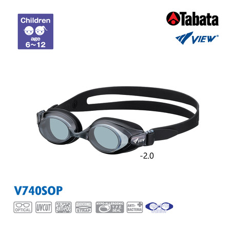 VIEW แว่นตาว่ายน้ำสายตาสั้นสำหรับเด็ก V740SOP -2.0 (สีดำ)