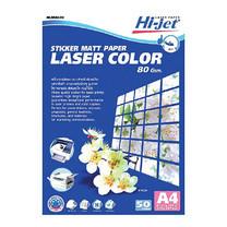สติกเกอร์ เลเซอร์สี HI-JET HLS804-50 80g A4 เนื้อแมท(แพ็ค 50 แผ่น)