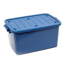 กล่องพลาสติกอเนกประสงค์แบบมีฝาปิดพร้อมหูล็อคและล้อ 100L คละสี