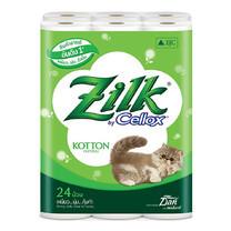 กระดาษชำระ คอตตอน Zilk แพ็ค 24 ม้วน หนา 2 ชั้น 10.0 x 11.3ซม. ยาว384ม.