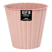 KEEP IN ถังขยะกลมลายจีบไม่มีฝา สแตนดาร์ด RW9278 (9.5 ล.) สีชมพู