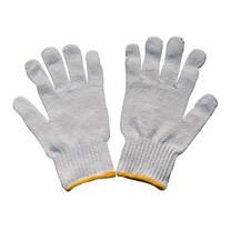 ถุงมือผ้าทอ 7 ขีด สีขาวขอบเหลือง 12 คู่/แพ็ก